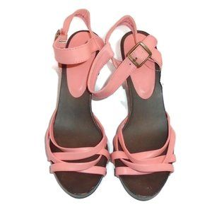 H&M Heeled Strap Sandals NWT 8 Pink Brown